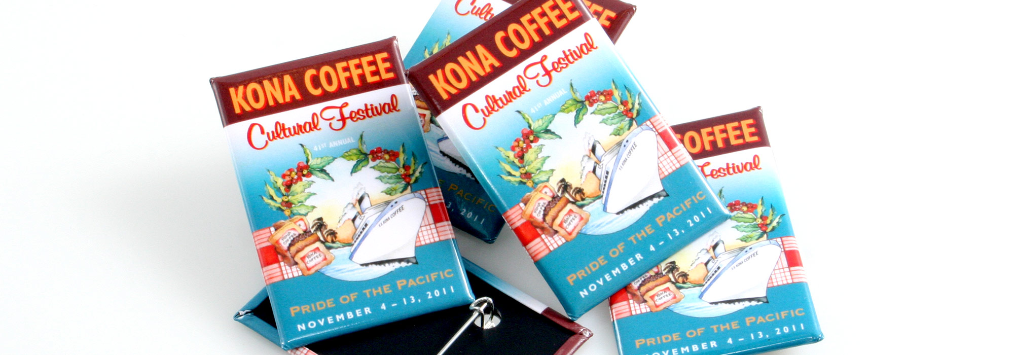 Rectangle Custom Buttons Kona Coffee