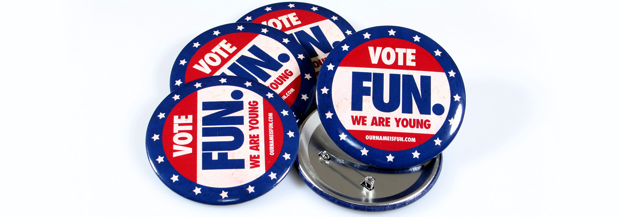 Round Custom Campaign style buttons for the band Fun