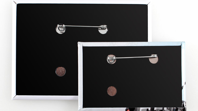 Rectangle Buttons Feature a Metal Pin and Black Plastic Back
