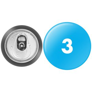 3 inch round button next to standard usa soda can